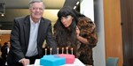 Radio 1's Jameela Jamil and Tony Blackburn help blow out the Official Chart birthday candles