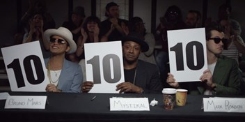 Mark Ronson and Bruno Mars judge school talent show in Feel Right video