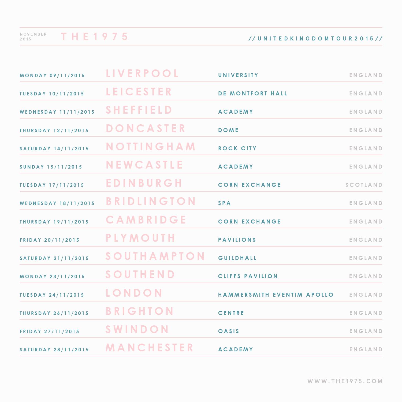 The 1975 tour dates