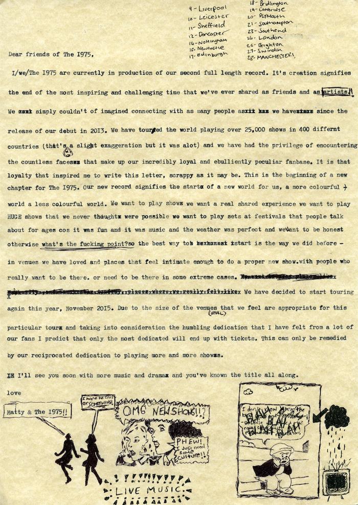 Resultado de imagen de the 1975 hand note Matthew Healy