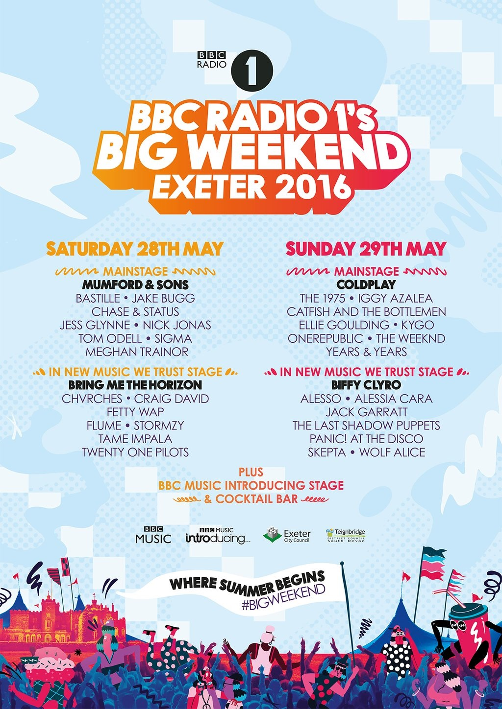 The full lineup for Radio 1's Big Weekend has been announced