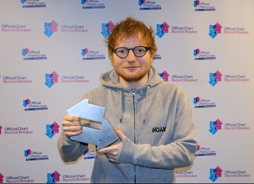 Ed Sheeran With His Official Number 1 Award For Shape Of You