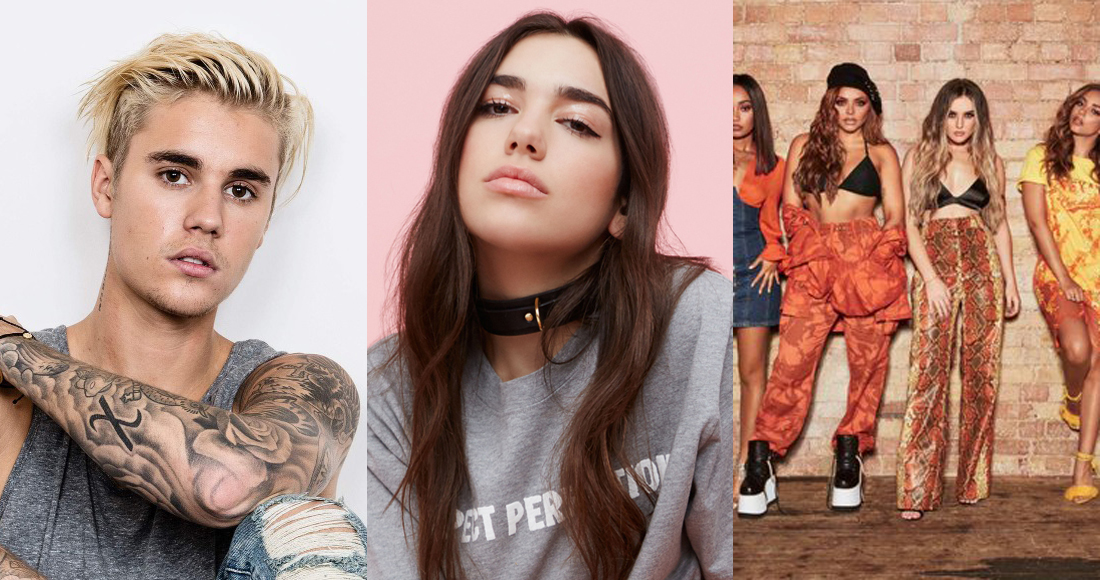 Little Mix, CNCO and Bieber take on Dua Lipa for this week's Number 1 single