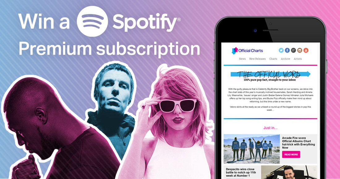 Get the new Official Charts newsletter and win a Spotify Premium membership