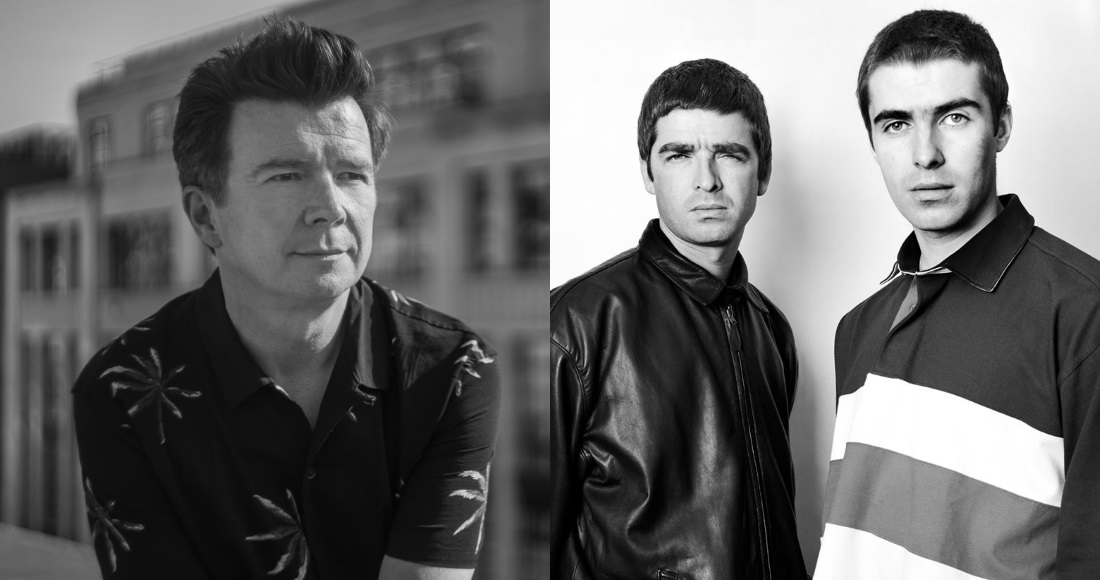 Rick Astley's Never Gonna Give You Up and Don't Look Back in Anger by Oasis are the latest songs to pass one million sales in the UK
