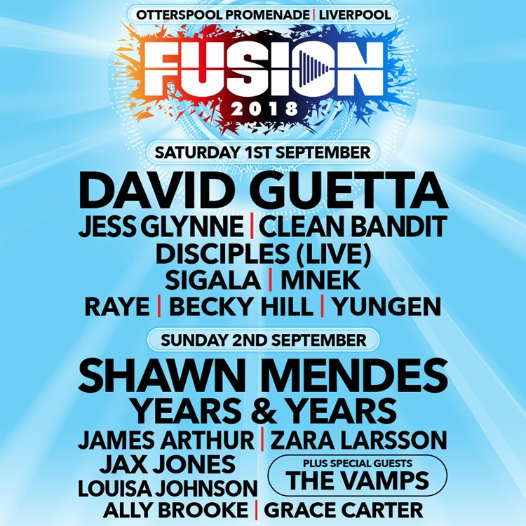 Win tickets to fusion 2018 plus zara larsson meet greet headlining this years festival which takes place at otterspool promenade in liverpool are david guetta and shawn mendes plus chart toppers jess glynne m4hsunfo